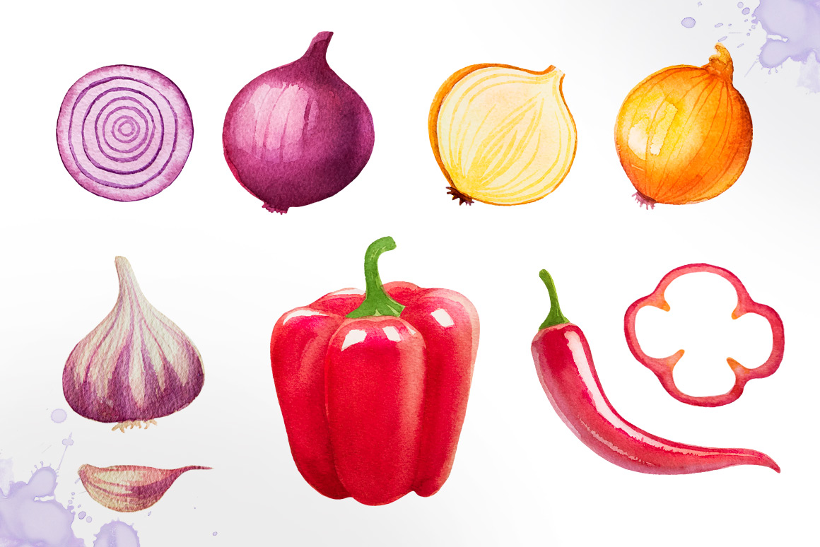 Watercolor vegetables example image 5