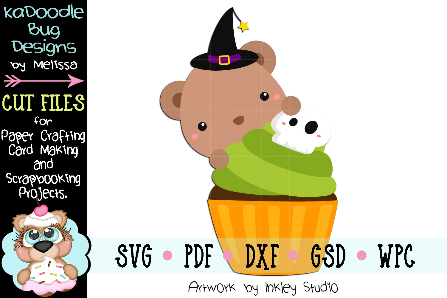 Halloween Cupcake Bear Cut File - SVG PDF DXF GSD WPC example image 1