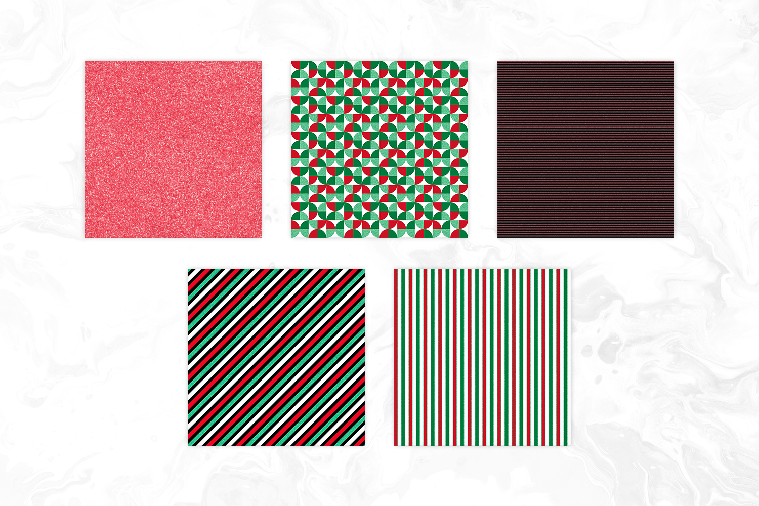 Christmas Colors & Glitter Seamless Geomteric Digital Paper example image 3