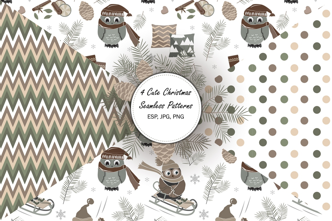 4 Cute Christmas Seamless Patterns example image 1