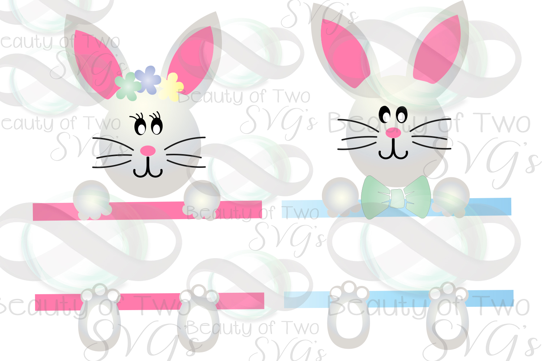 Easter Basket Bunny svg, Easter Bunny svg, Monogram svg example image 2