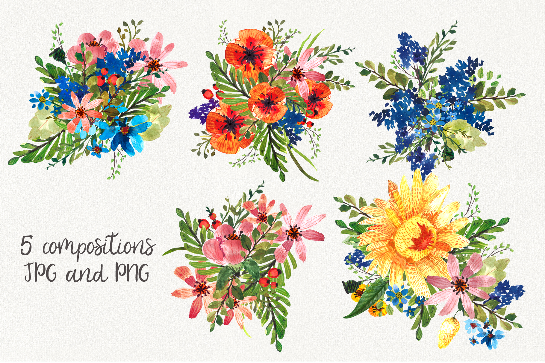Flower Power watercolor pack set with frames wreath patterns example image 4