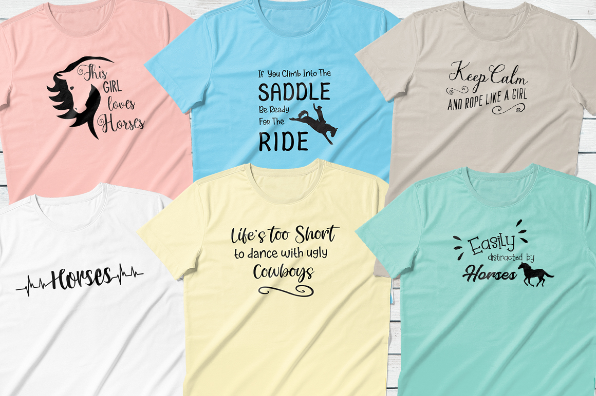 Horses Quotes & Heartbeats Bundle - SVG DXF PNG example image 2