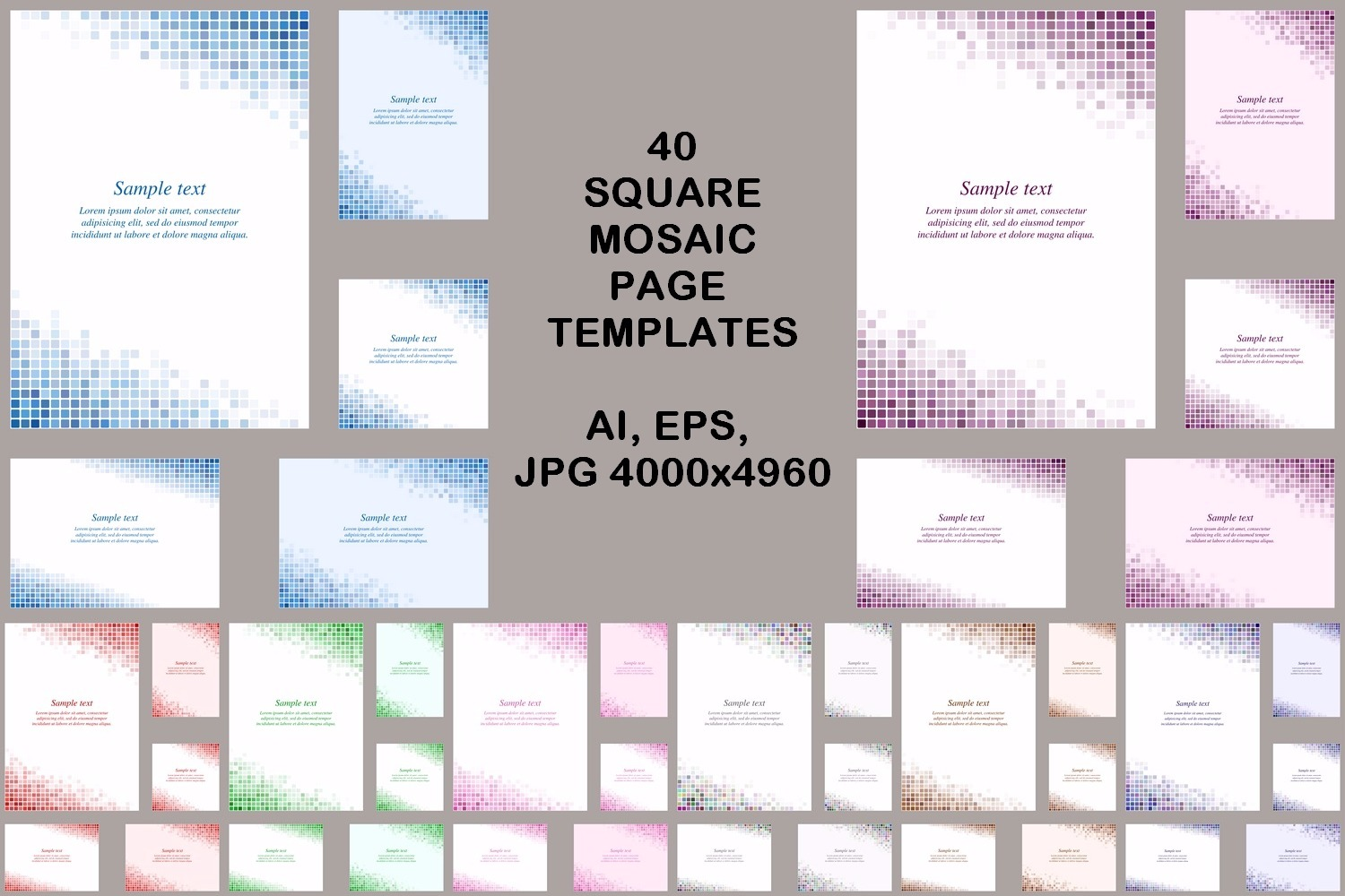 40 square mosaic page templates (AI, EPS, JPG 5000x5000) example image 1