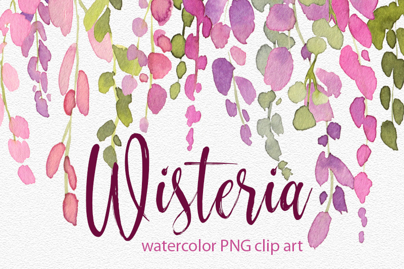 Watercolor wisteria png pink flowers example image 1
