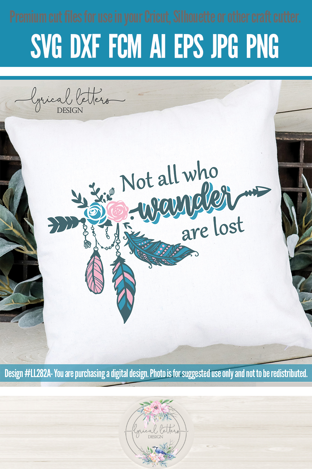 NEW! Not All Who Wander Are Lost SVG Cut File LL282A example image 3