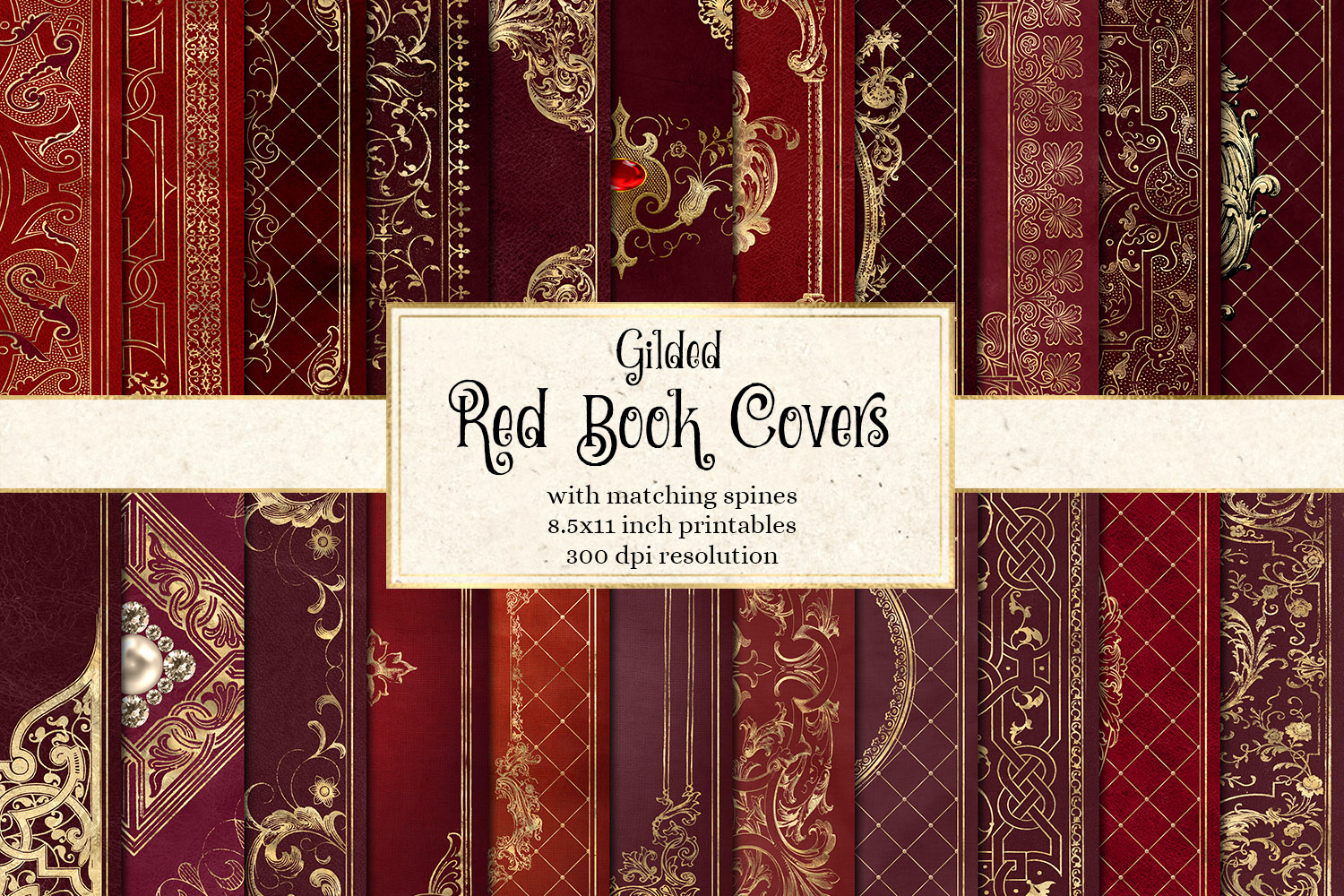 Gilded Red Book Covers example image 1