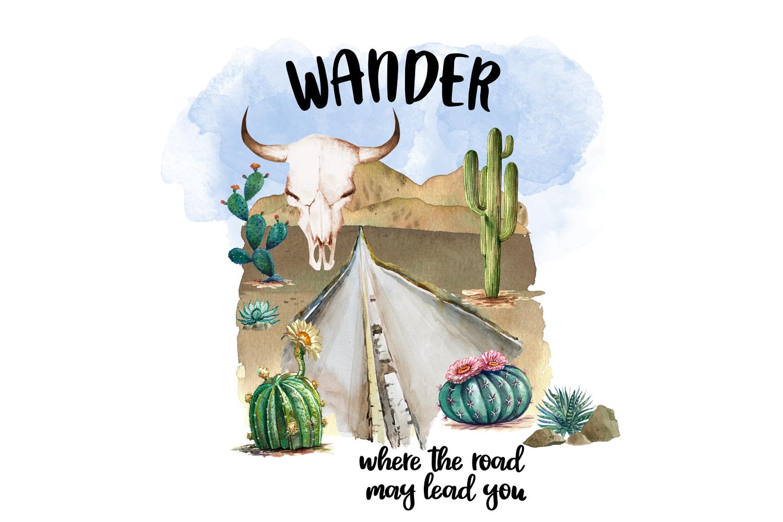 Wanderlust Watercolor Clipart example image 1