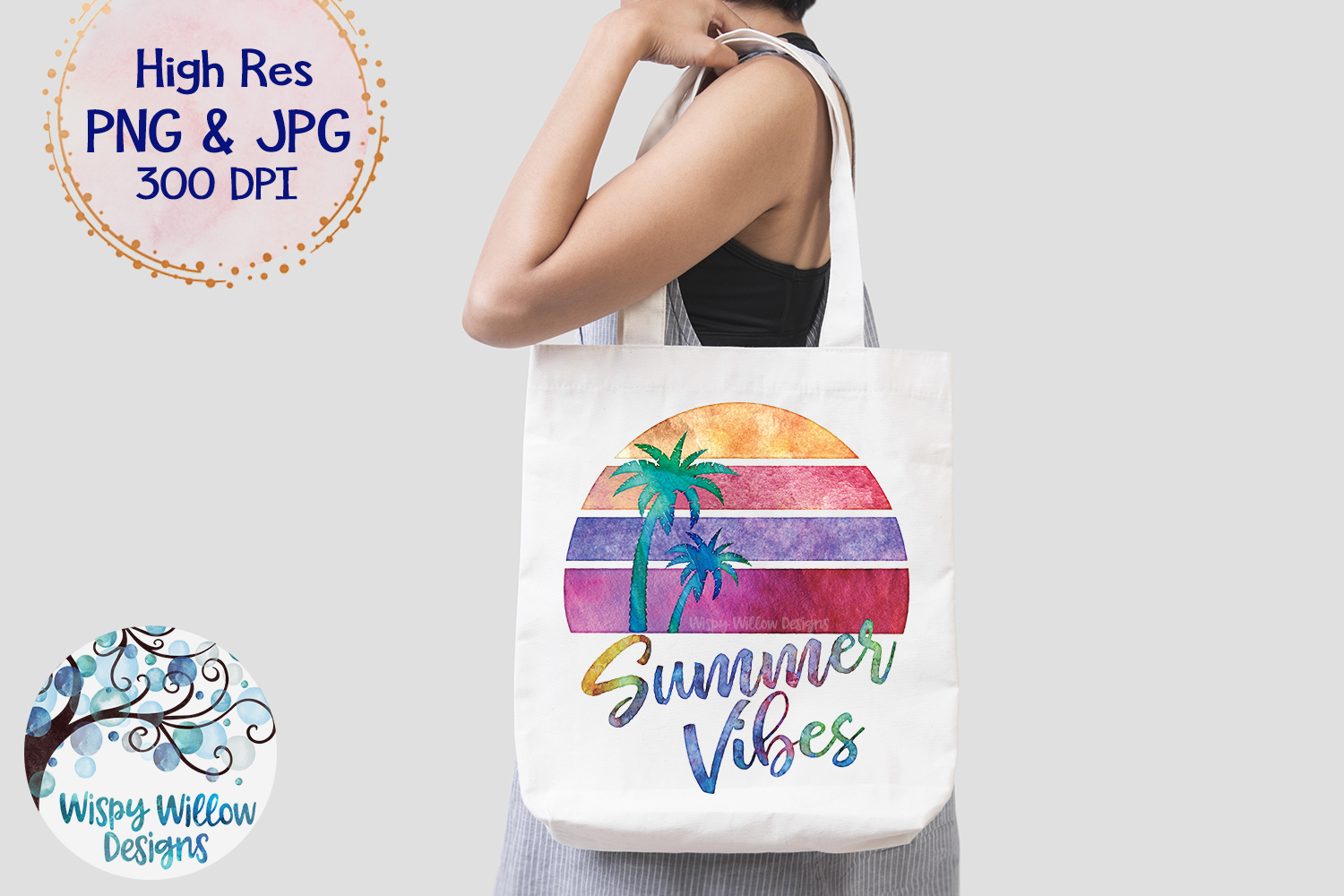 Summer Vibes Watercolor PNG | Sublimation | Clipart example image 3