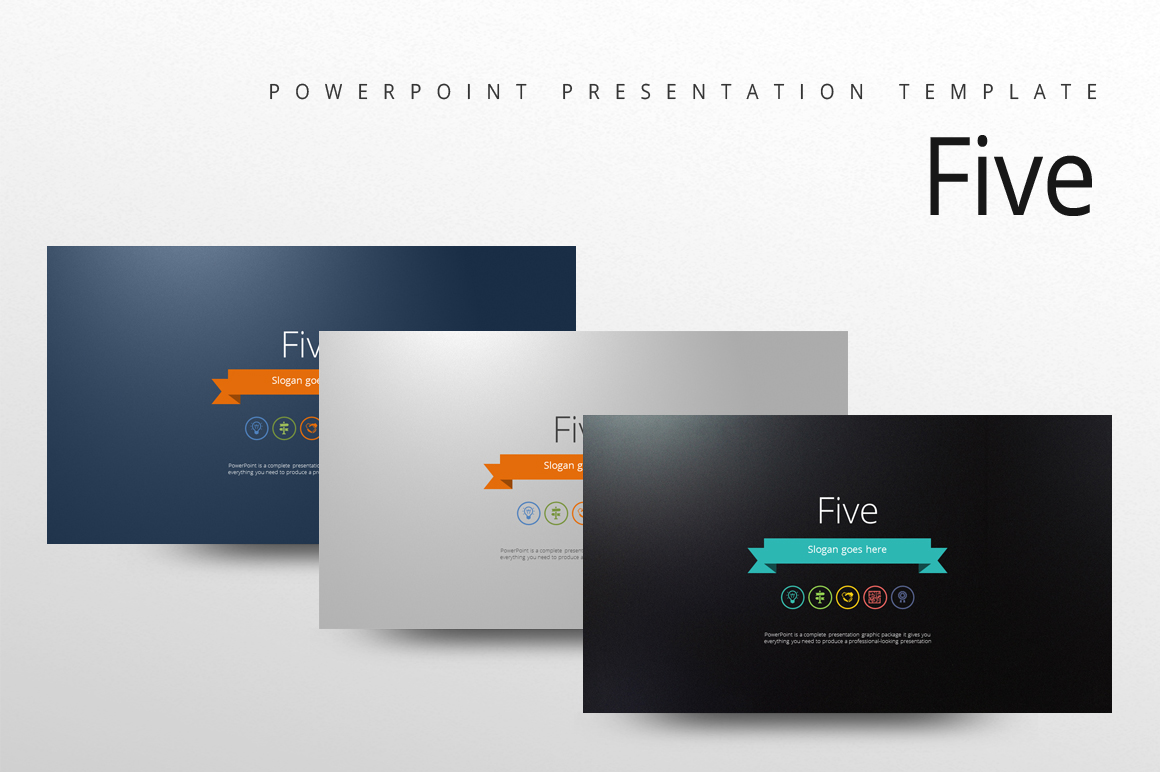 Five Color Powerpoint Template example image 1
