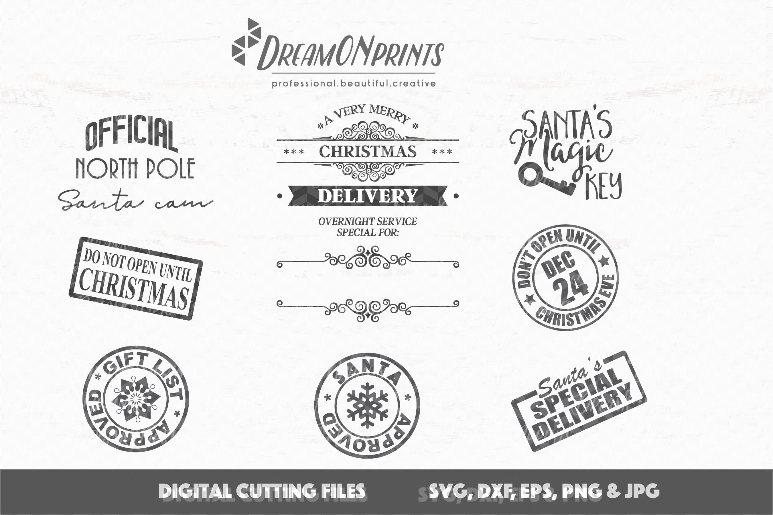 Christmas Stamps & Santa Sack SVG Bundle example image 2