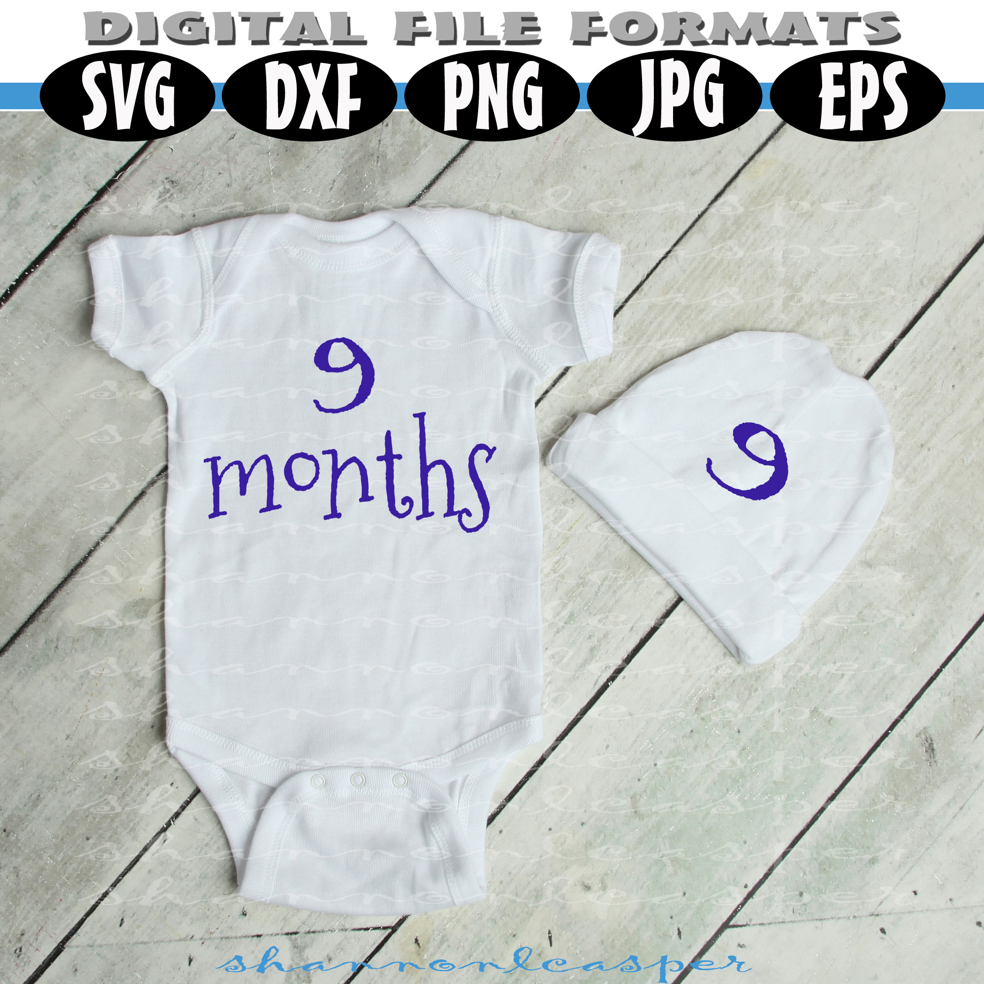Baby Shirt Months 1-12 for Growing Pictures example image 3