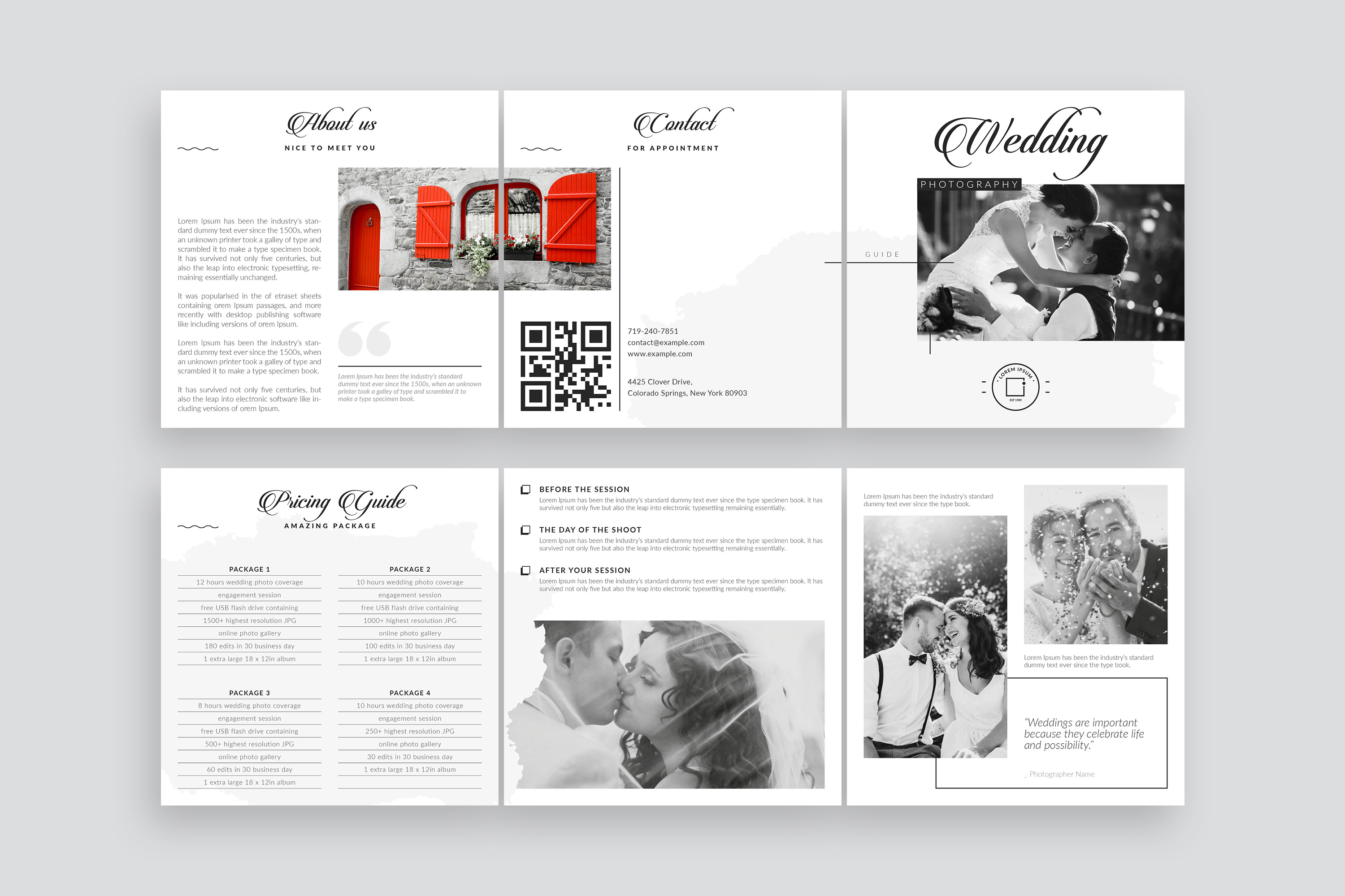 Wedding Photography Pricing Guides Tri-Fold Brochure Layout example image 2