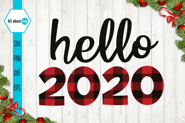 Hello 2020 Buffalo Plaid Svg example image 1