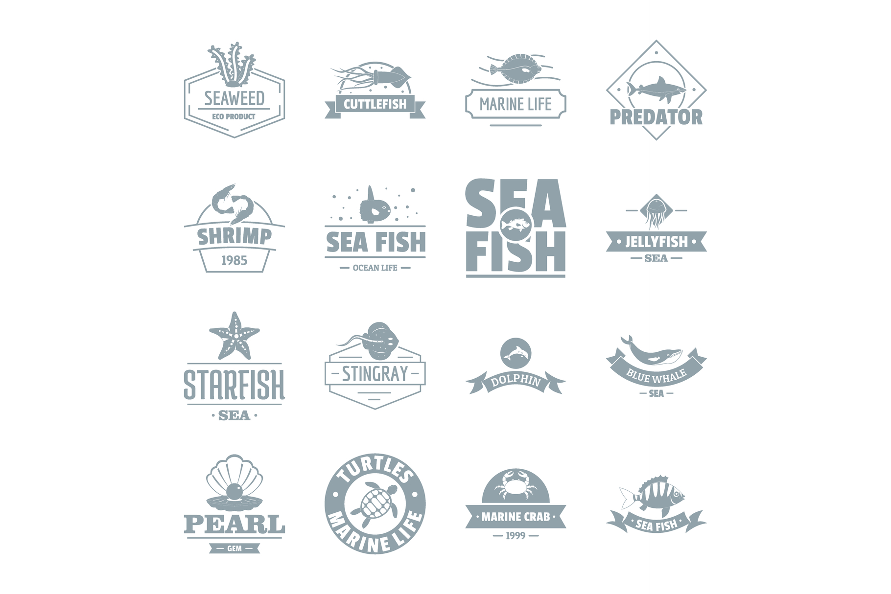 Fish sea logo icons set, simple style example image 1