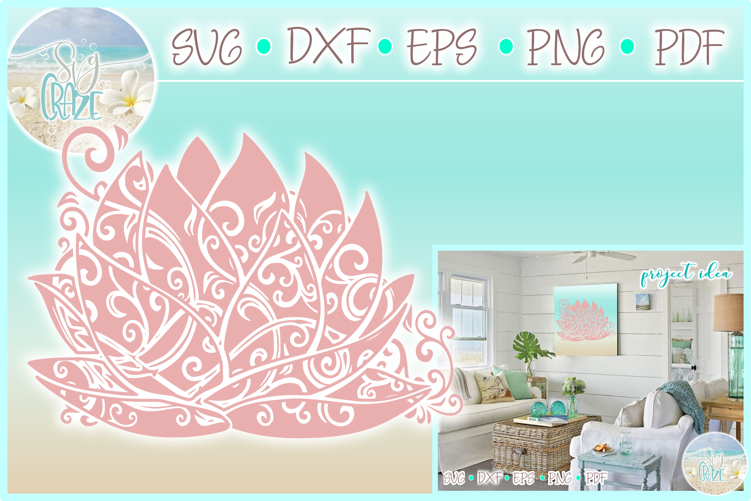 Lotus Water Lily Flower Mandala Svg Dxf Eps Png Pdf Files example image 1