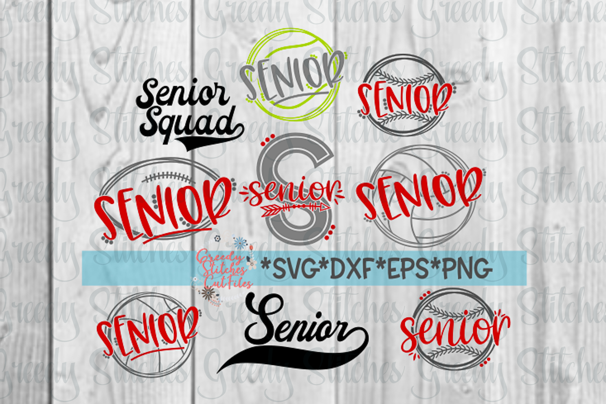 Senior School Sports Bundle SVG, DXF, EPS, PNG Files example image 2
