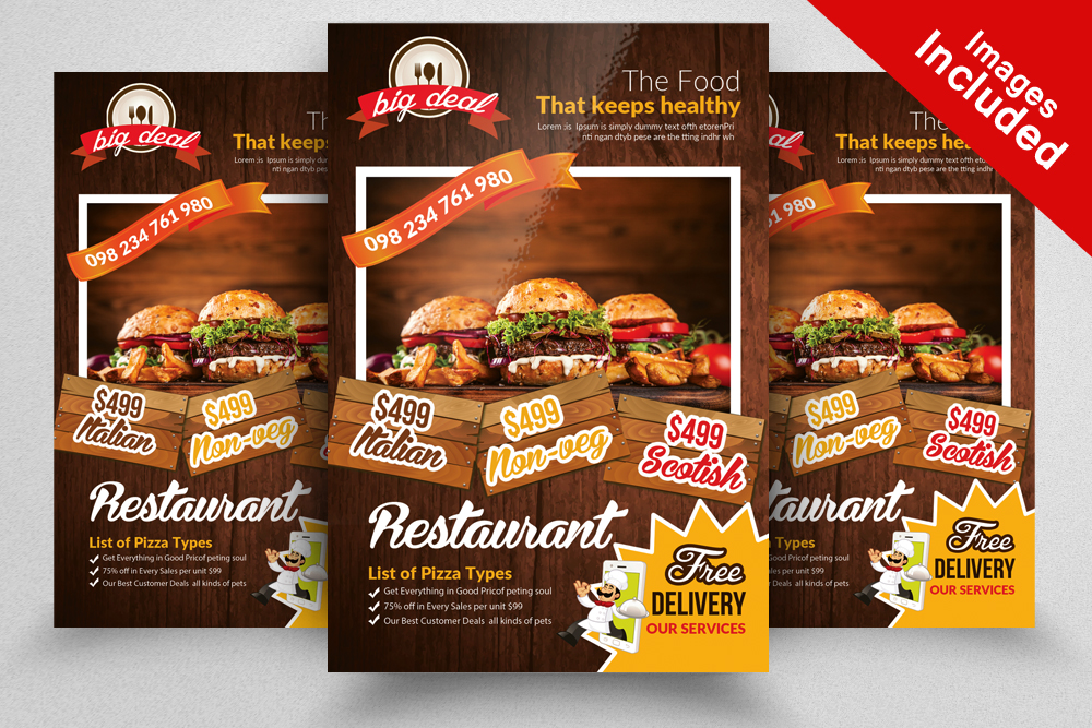 10 Restaurant Flyer Template Bundle example image 4
