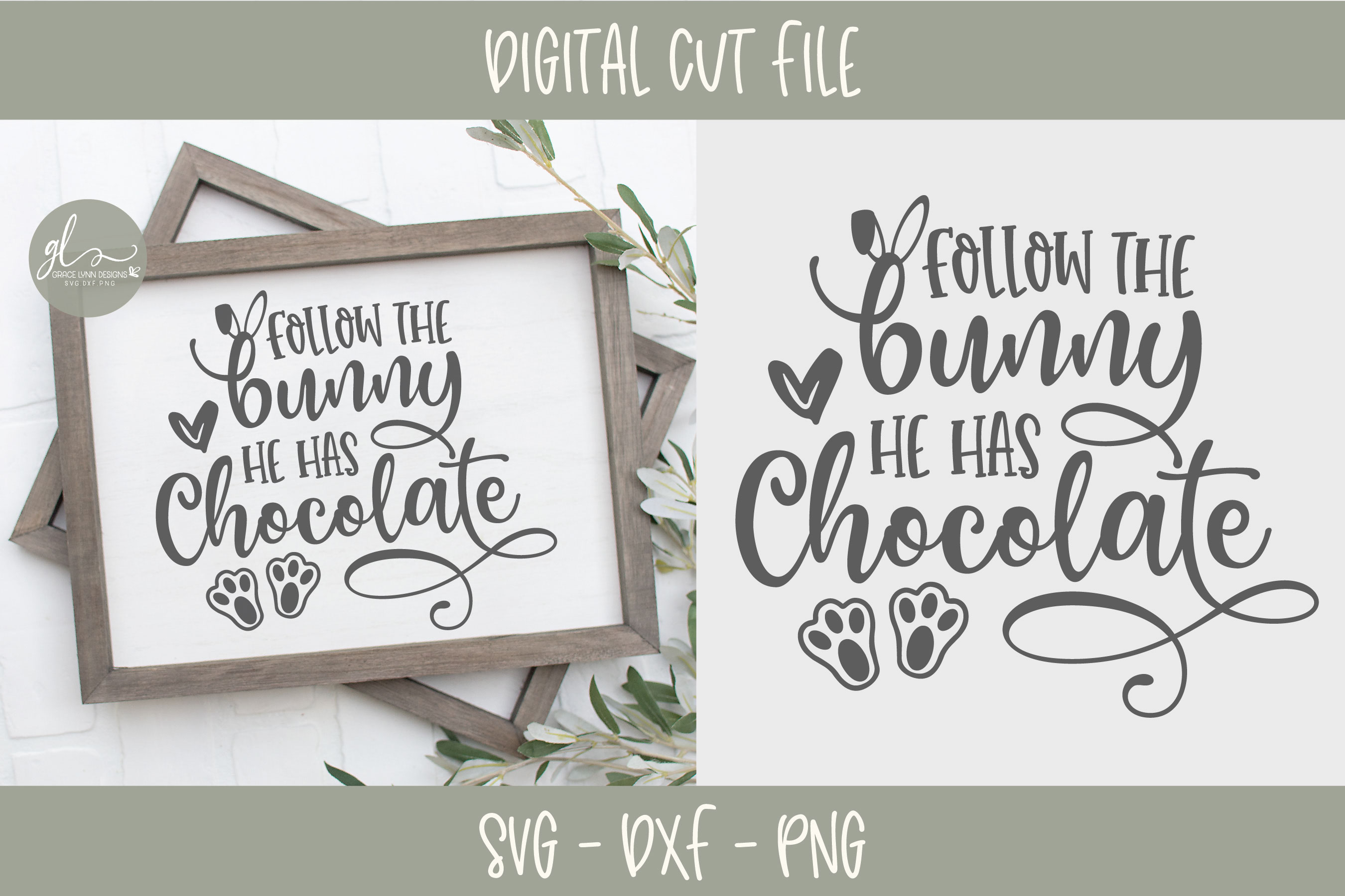 Follow The Bunny He Has Chocolate - Easter SVG Cut File example image 2