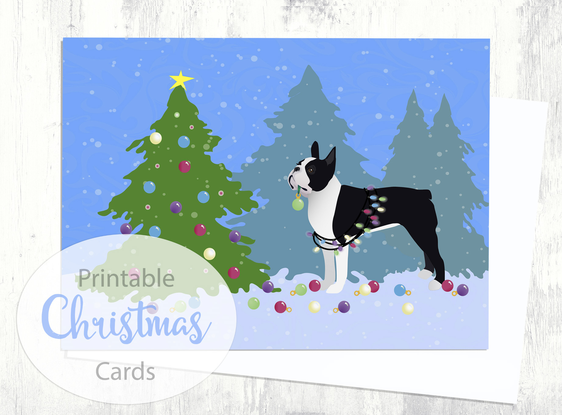 black boston terrier christmas card christmas forest digital download printable example image 1