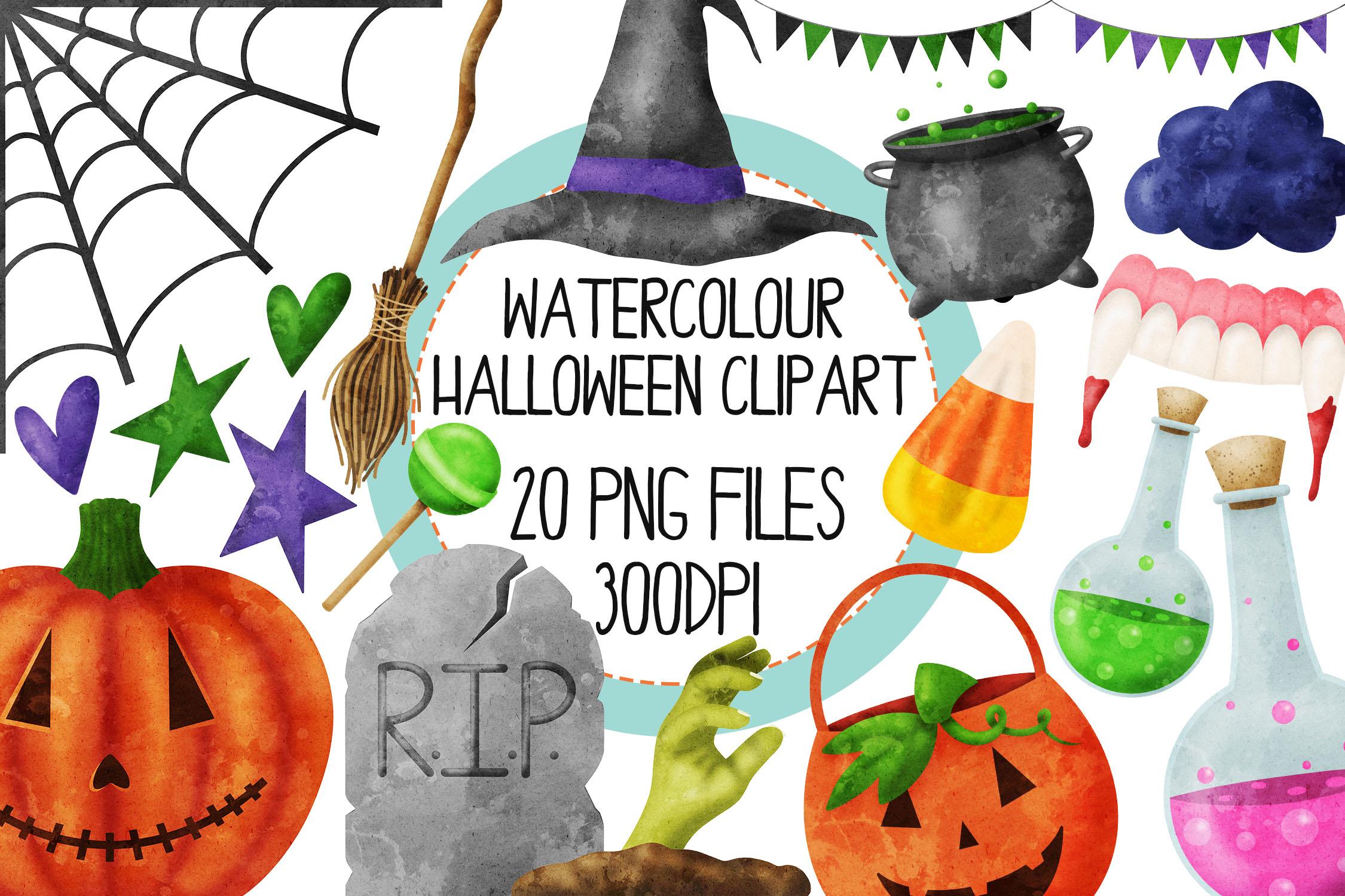 Watercolor Halloween Clip Art Set 2 example image 1