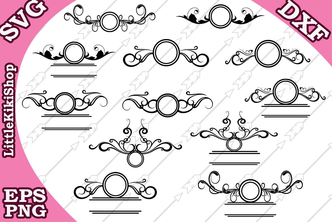 Flourish Monogram Svg,Flourish Frame Svg, Swirl Border Svg, example image 1