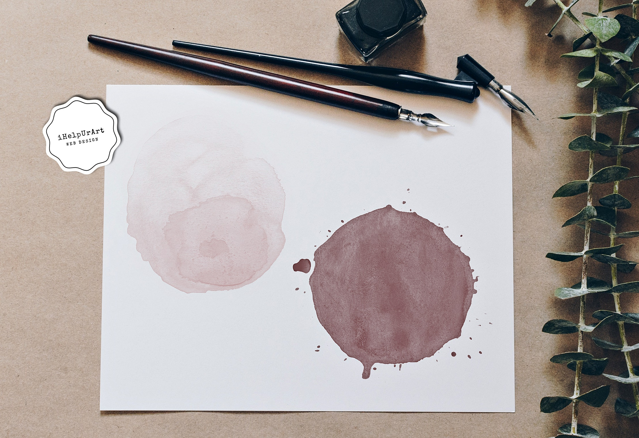 Nude Watercolor Circles Clipart example image 2