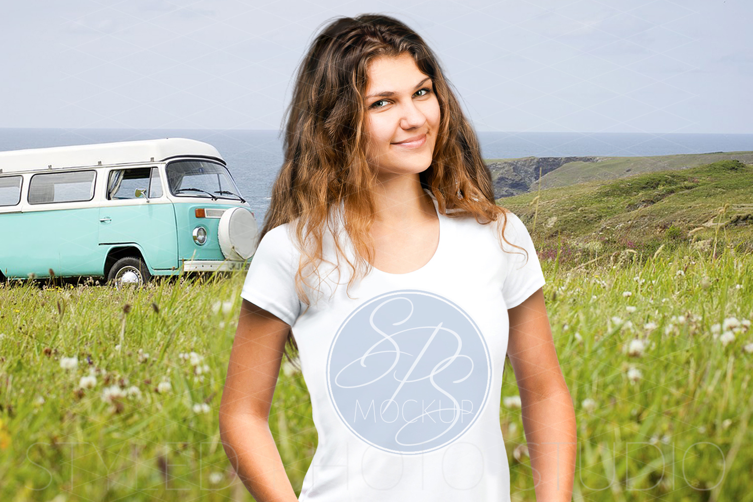 Womens tShirt Mockup with Hippy Bus example image 1