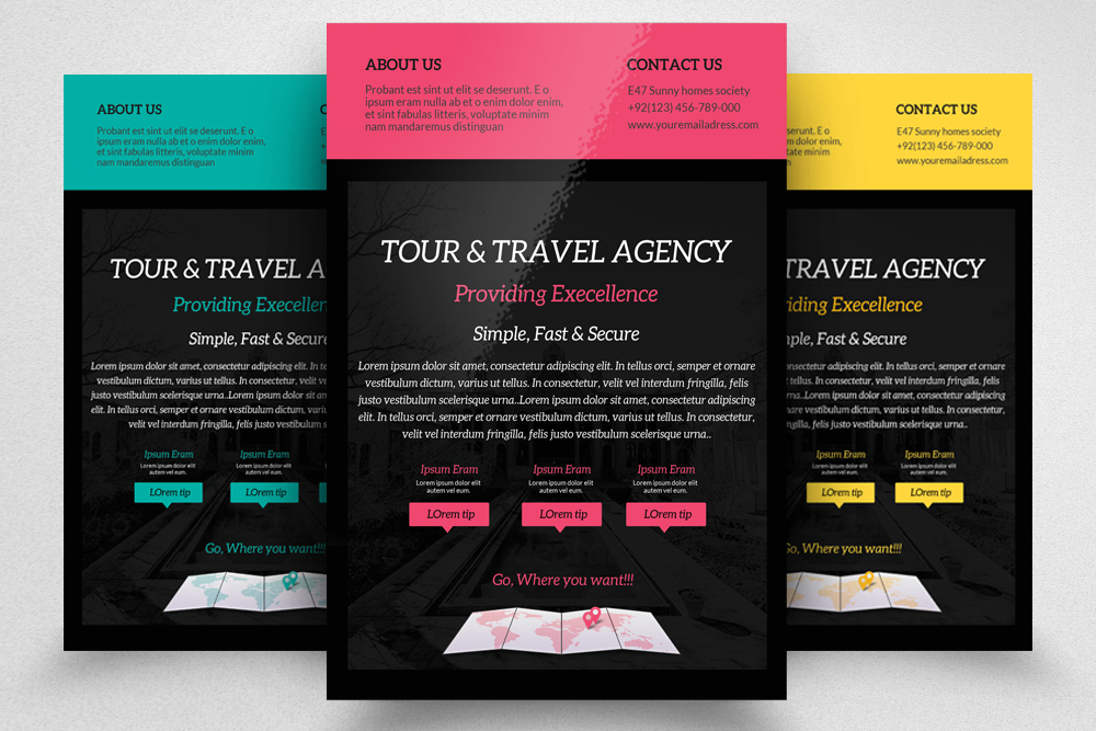 6 Tour Travel & Holiday Agency Flyers Bundle example image 3