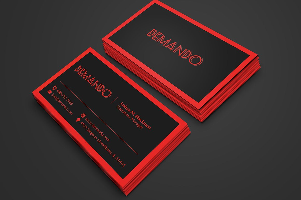 black and red business card