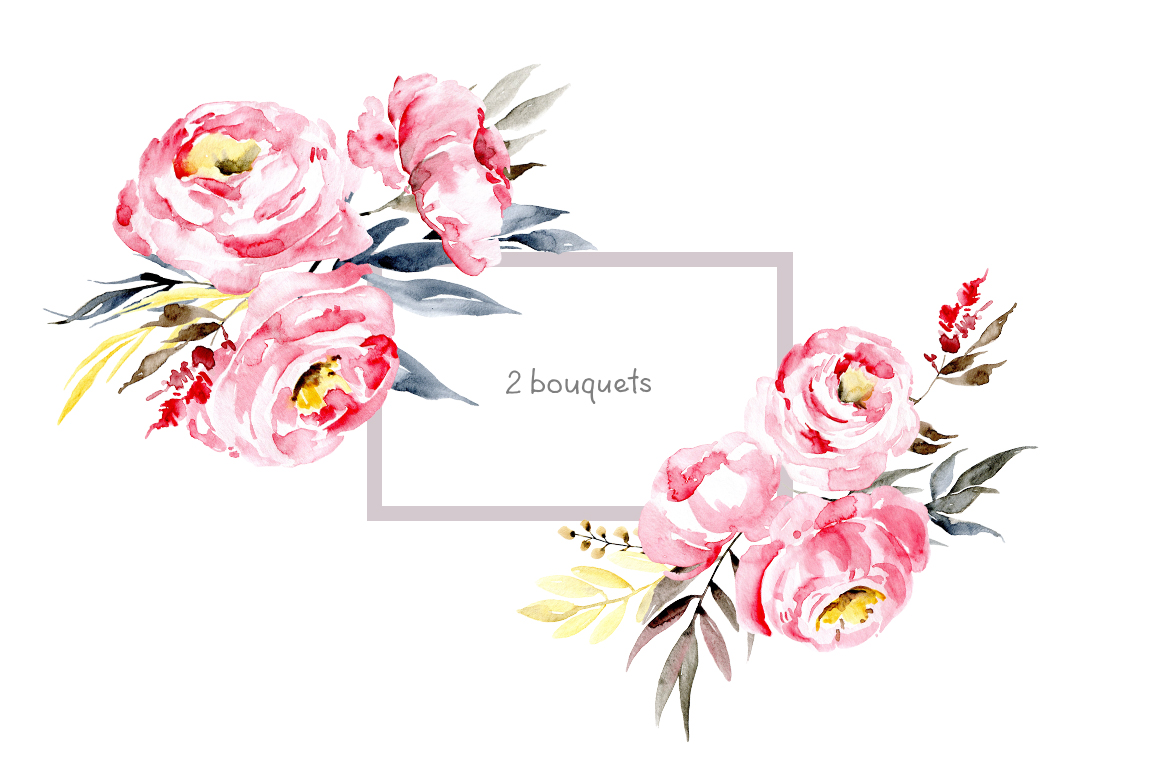 Watercolor pink peonies example image 3