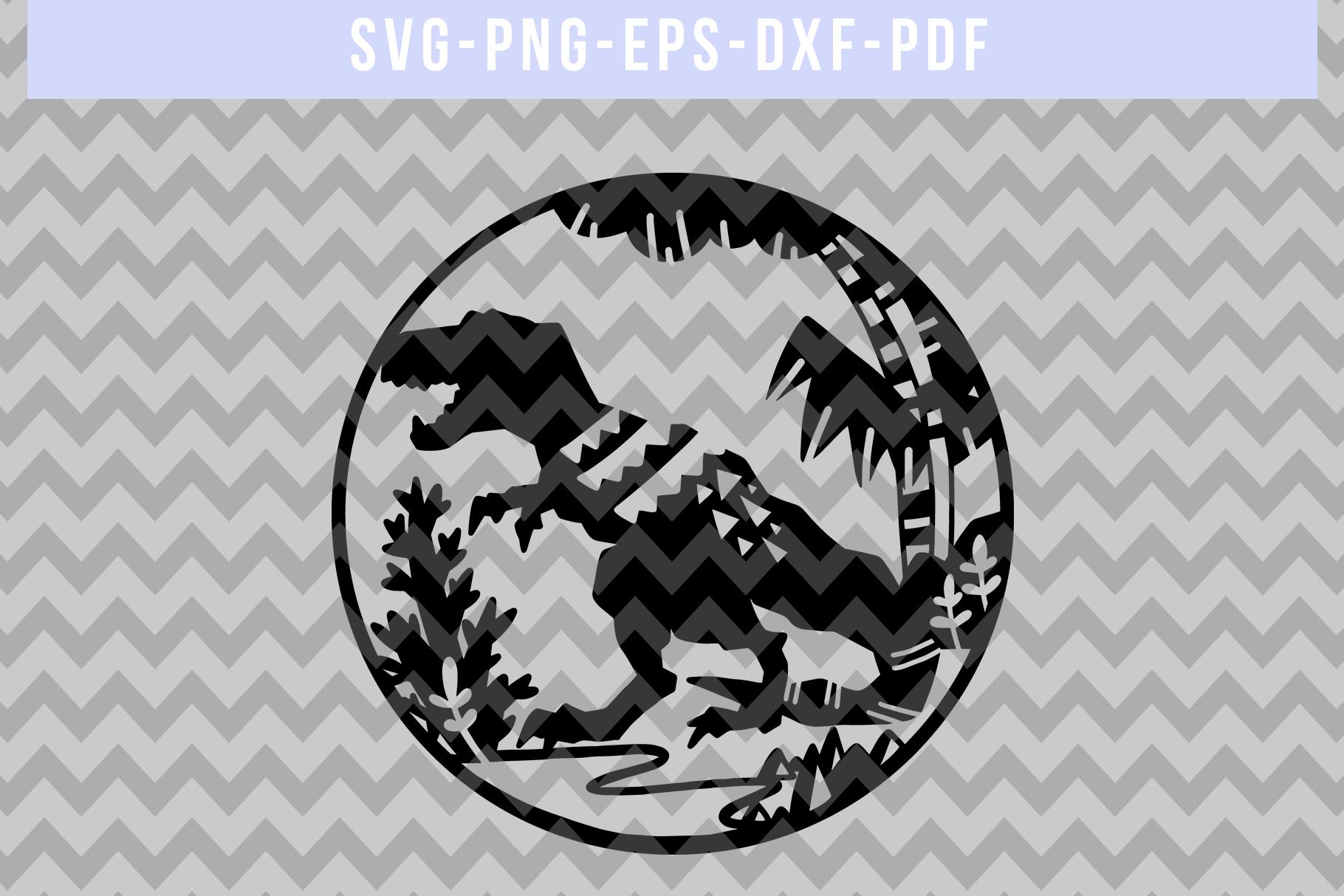 Dinosaur Papercut Template, T-Rex SVG, Baby Cut File DXF PDF example image 4