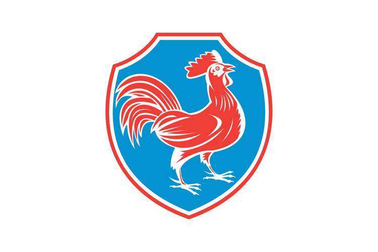 Chicken Rooster Side Shield Woodcut example image 1