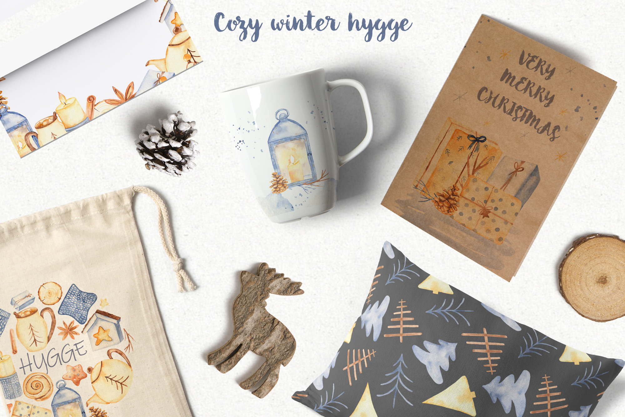 Hygge watercolor clipart Christmas cozy winter collection example image 10