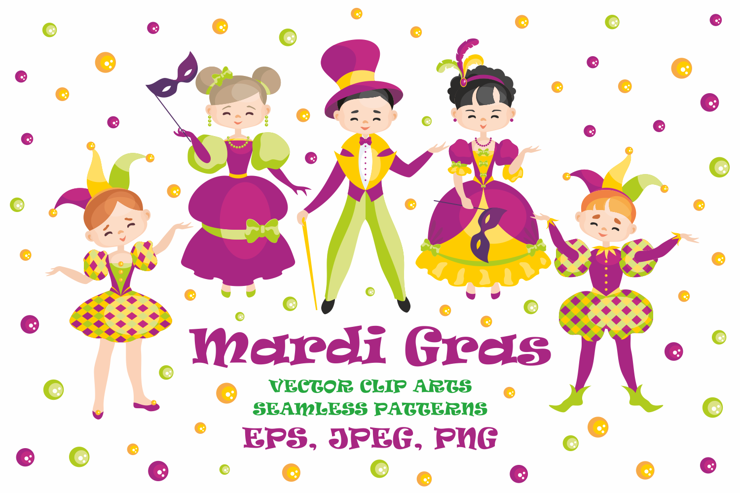 Mardi Gras mini set. Vector clip arts and seamless patterns. example image 1