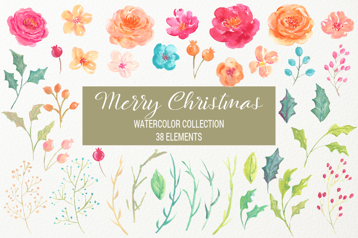 Merry Christmas Watercolor Collection example image 4