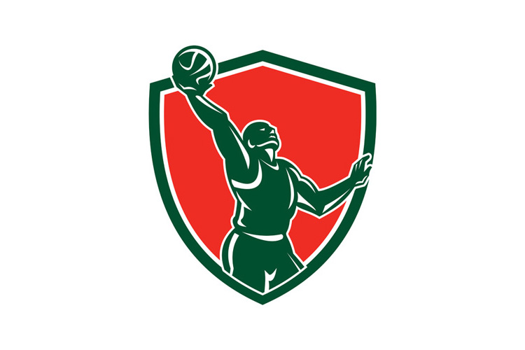 Basketball Player Rebounding Lay-Up Ball Shield example image 1