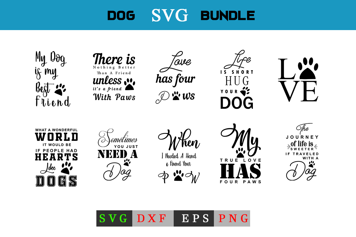 Dog Quotes SVG Bundle example image 1