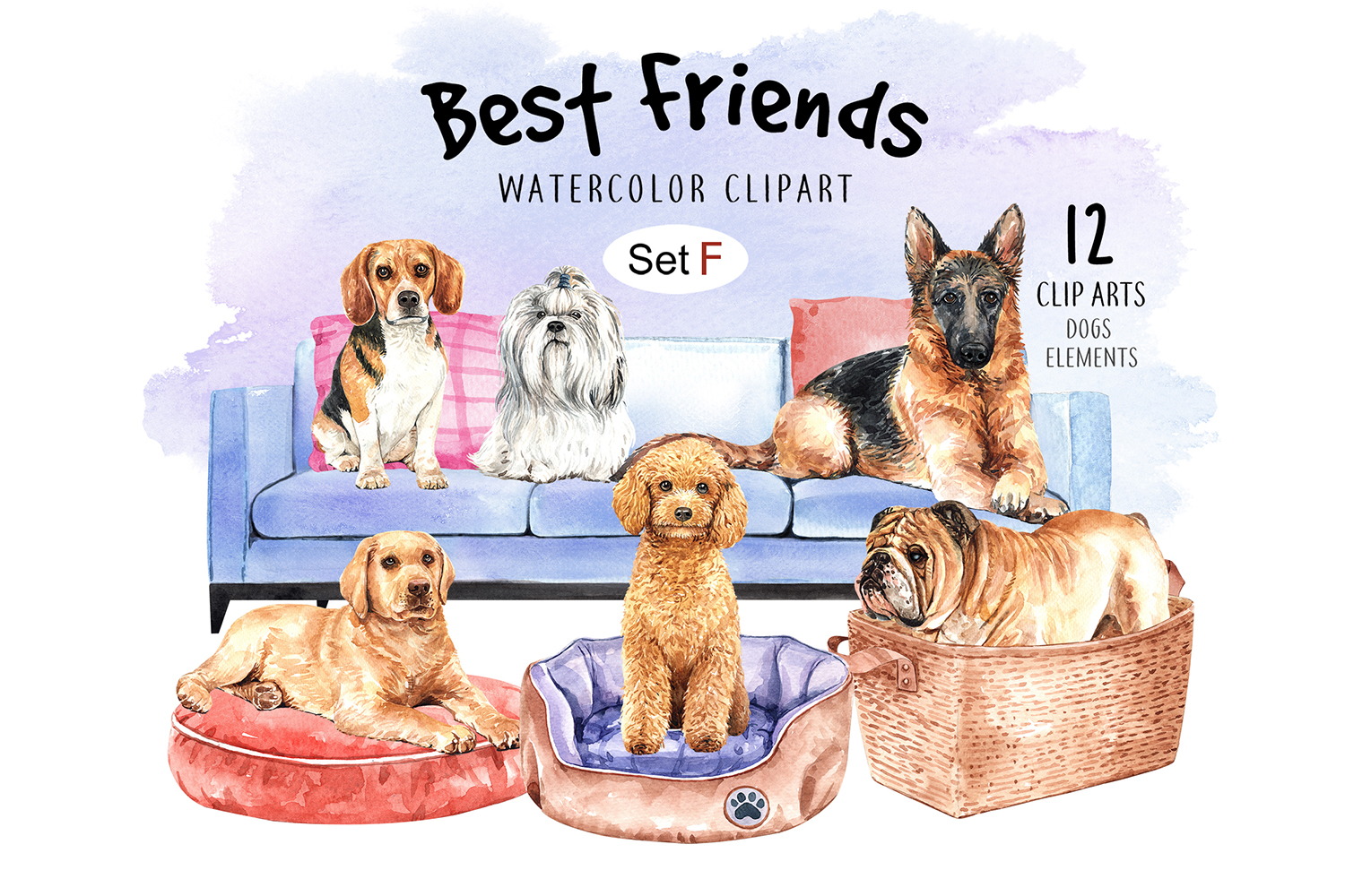 Dog watercolor clipart, Pet clip arts, Dog Set F example image 1