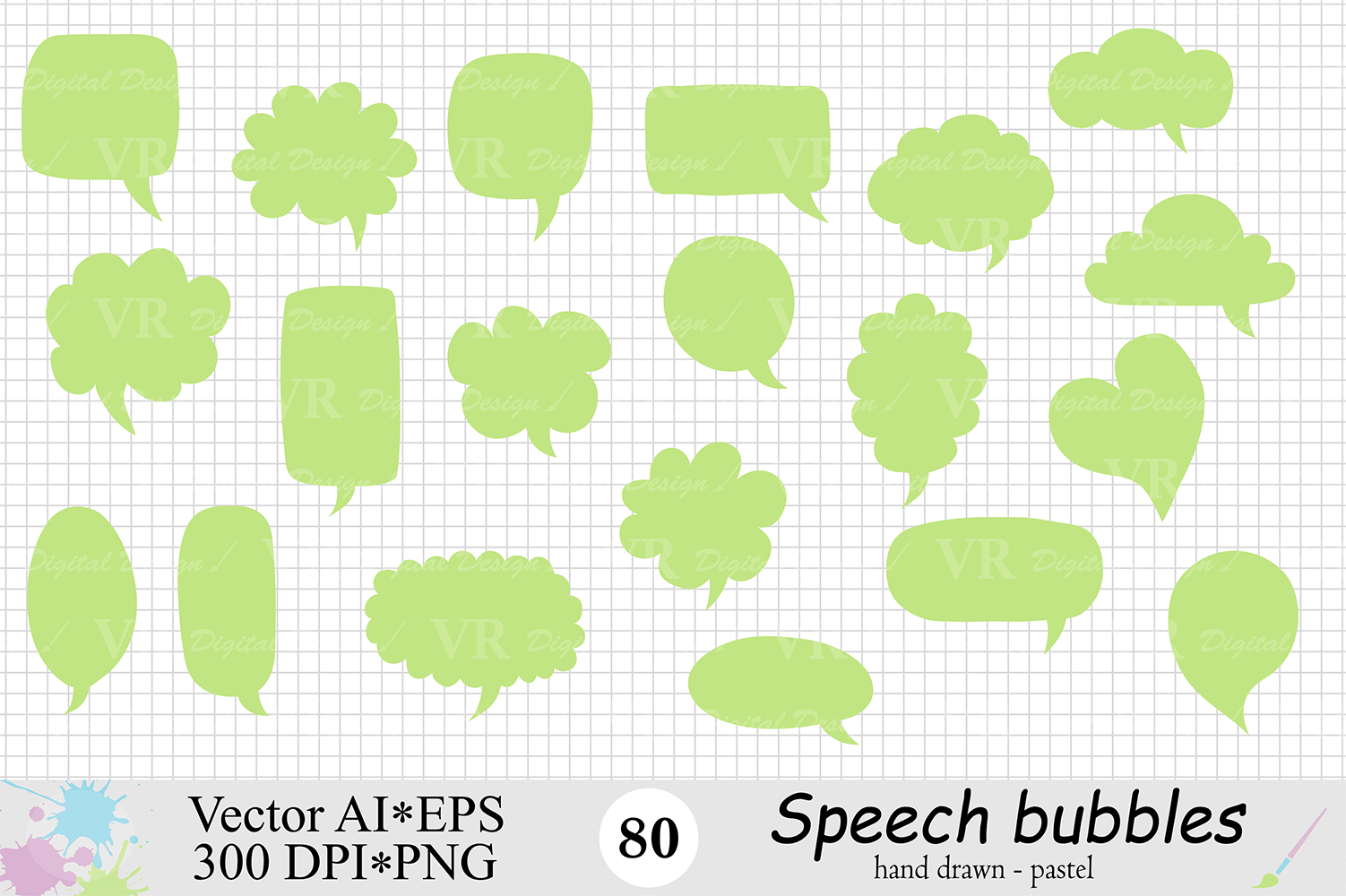 Speech Bubbles Clipart / Chat Bubbles / Hand drawn Text bubbles / Pastel Word Bubbles - Vector example image 4