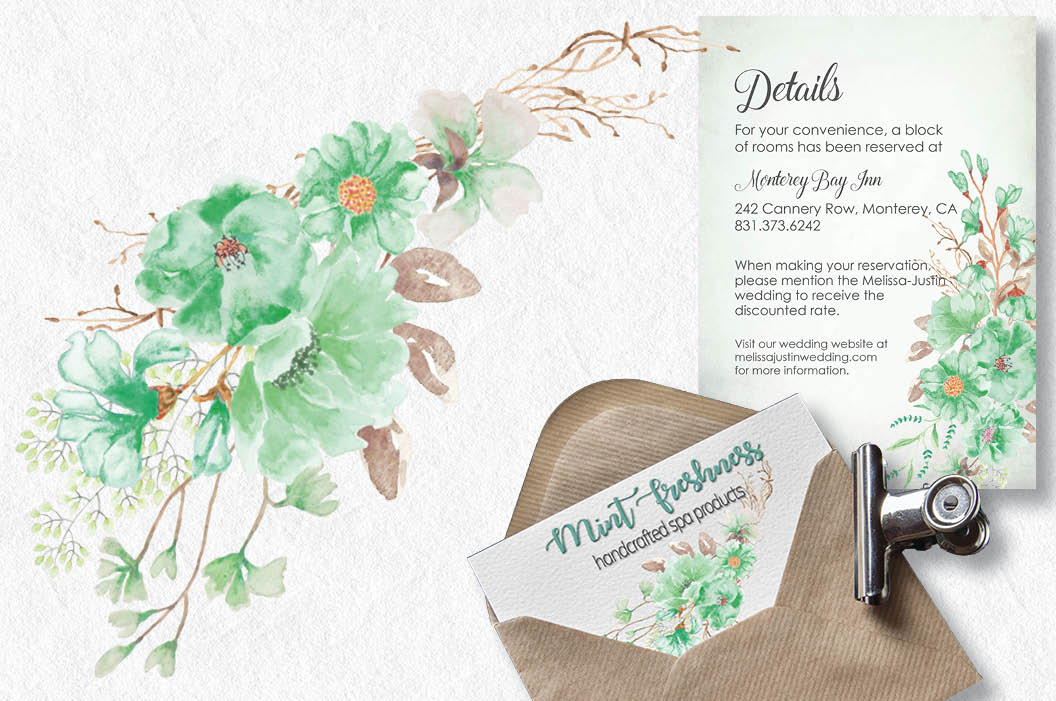 Watercolor wreath: 'Mint green freshness' example image 5