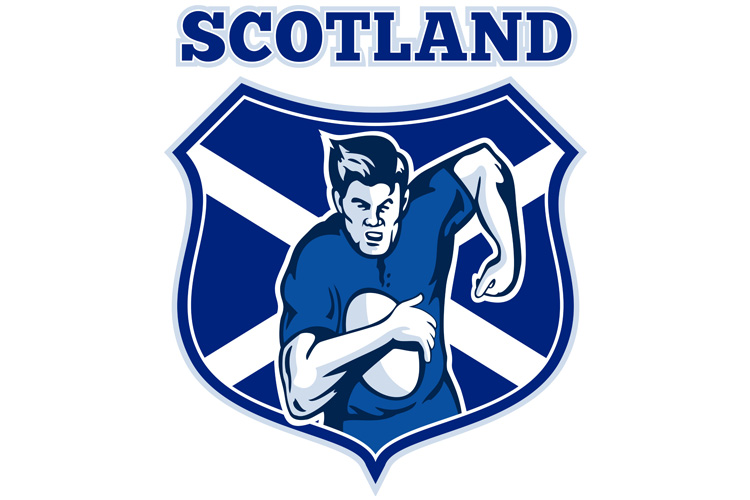 rugby player scotland flag shield example image 1