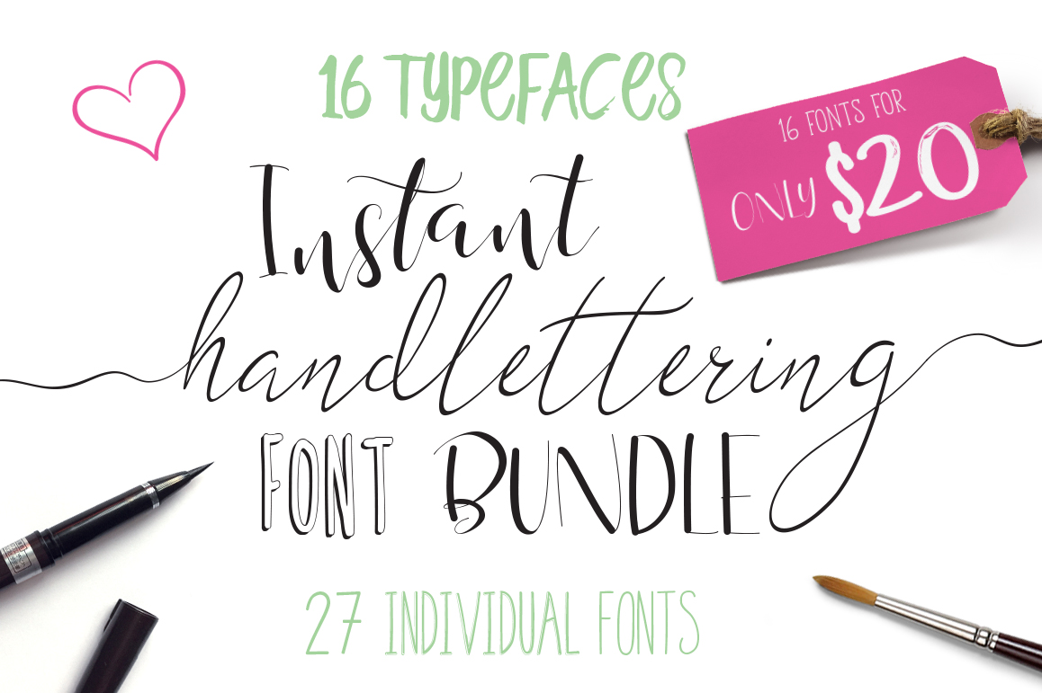 Font Bundle - Instant Hand Lettering example image 1