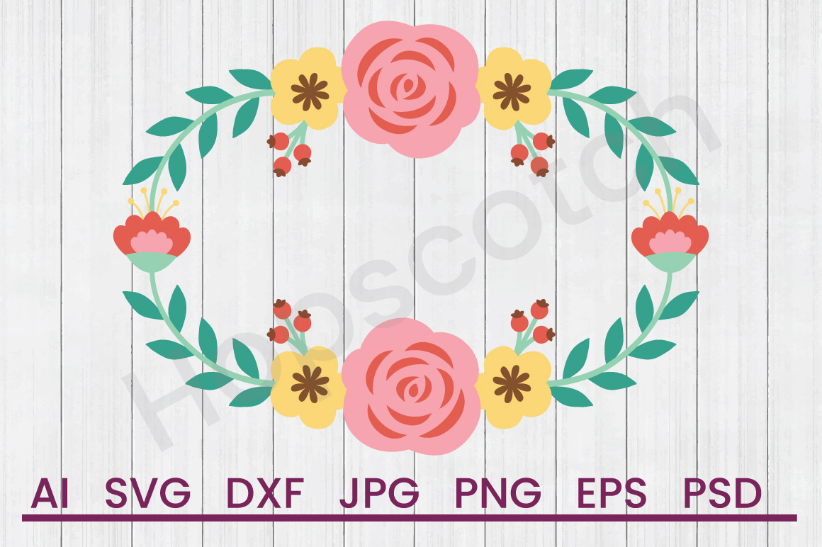 Banner SVG, Floral Banner SVG, DXF File, Cuttatable File example image 1
