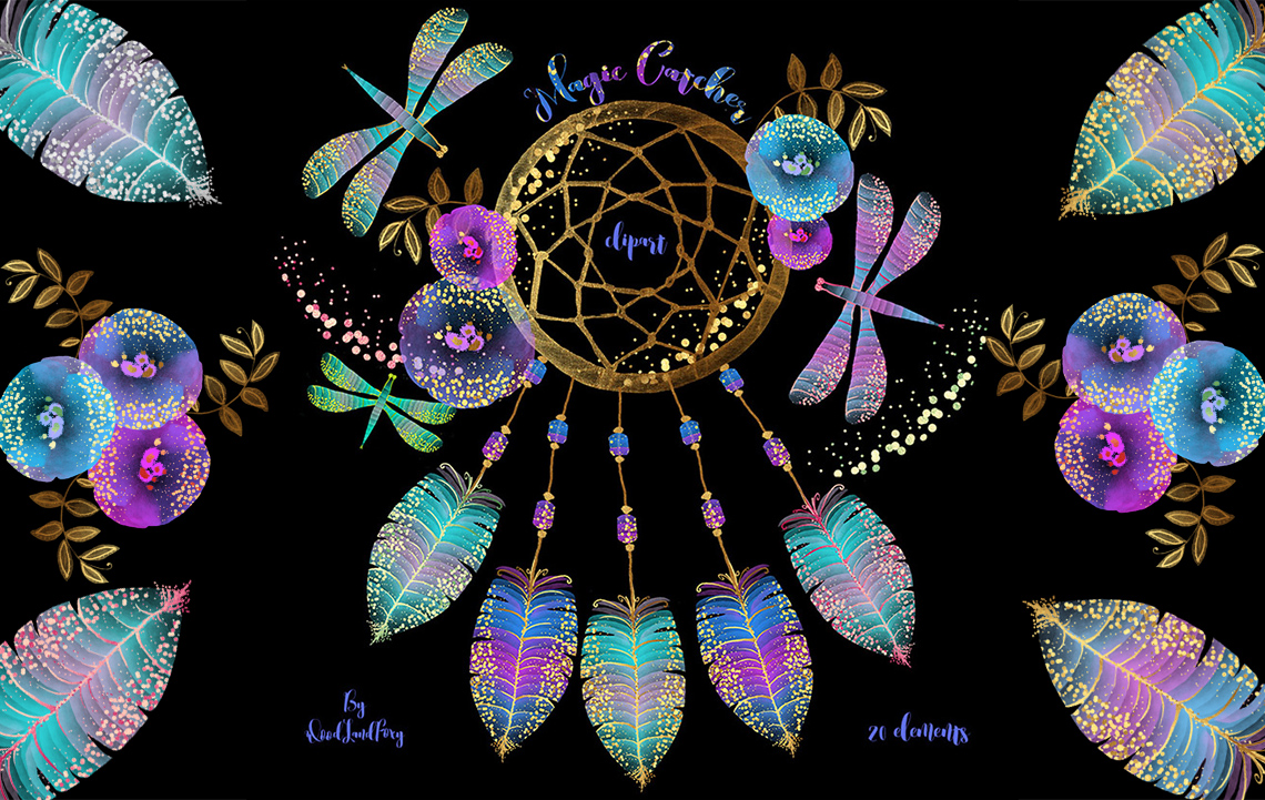 Dream catcher clip art, digital watercolor clipart, feathers with gold confetti, flowers, dragonflies, Translucent and neon effects, magic example image 2
