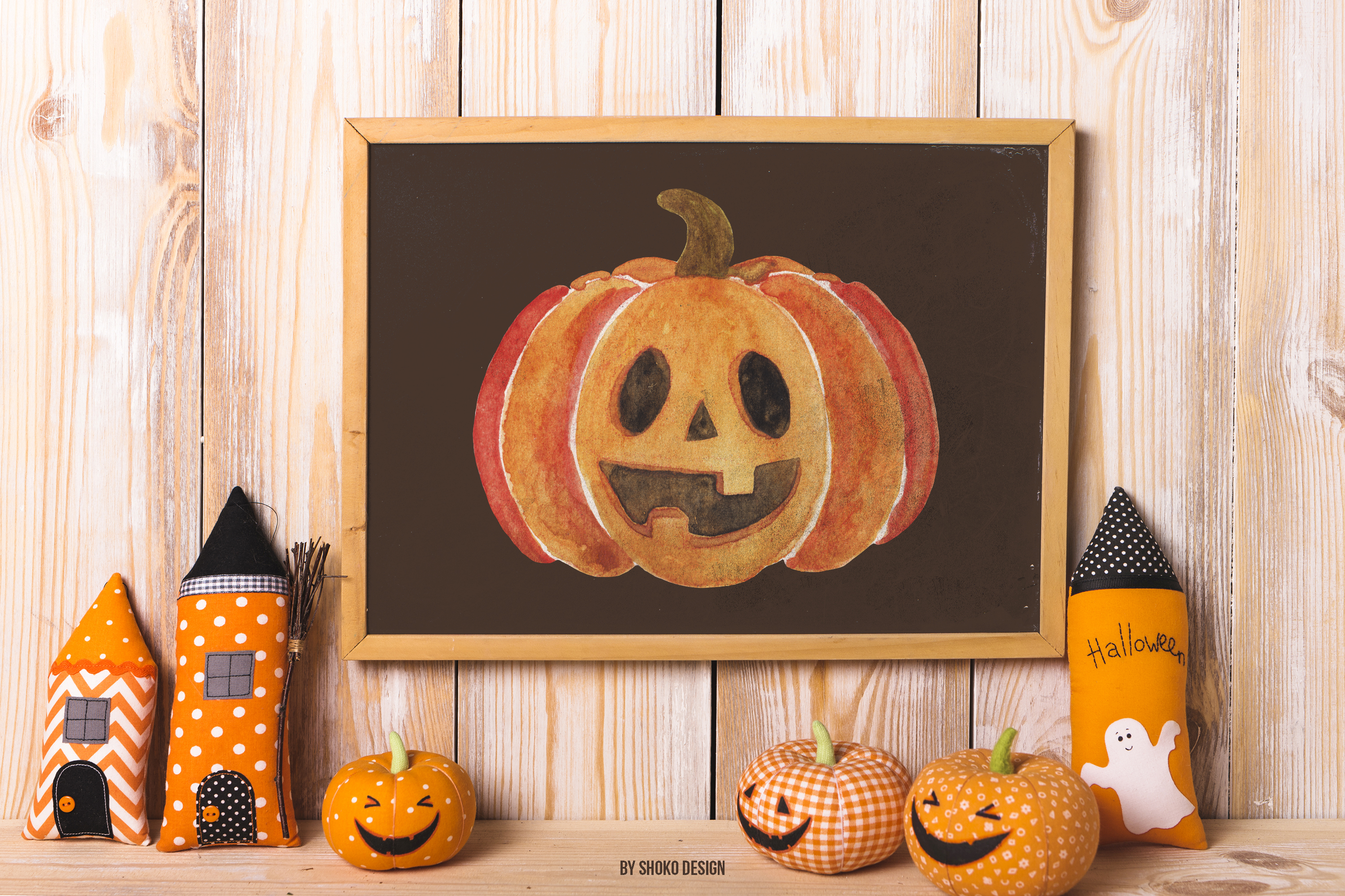 Hand painted Watercolor Halloween Party Fall Set pumpkins example image 5