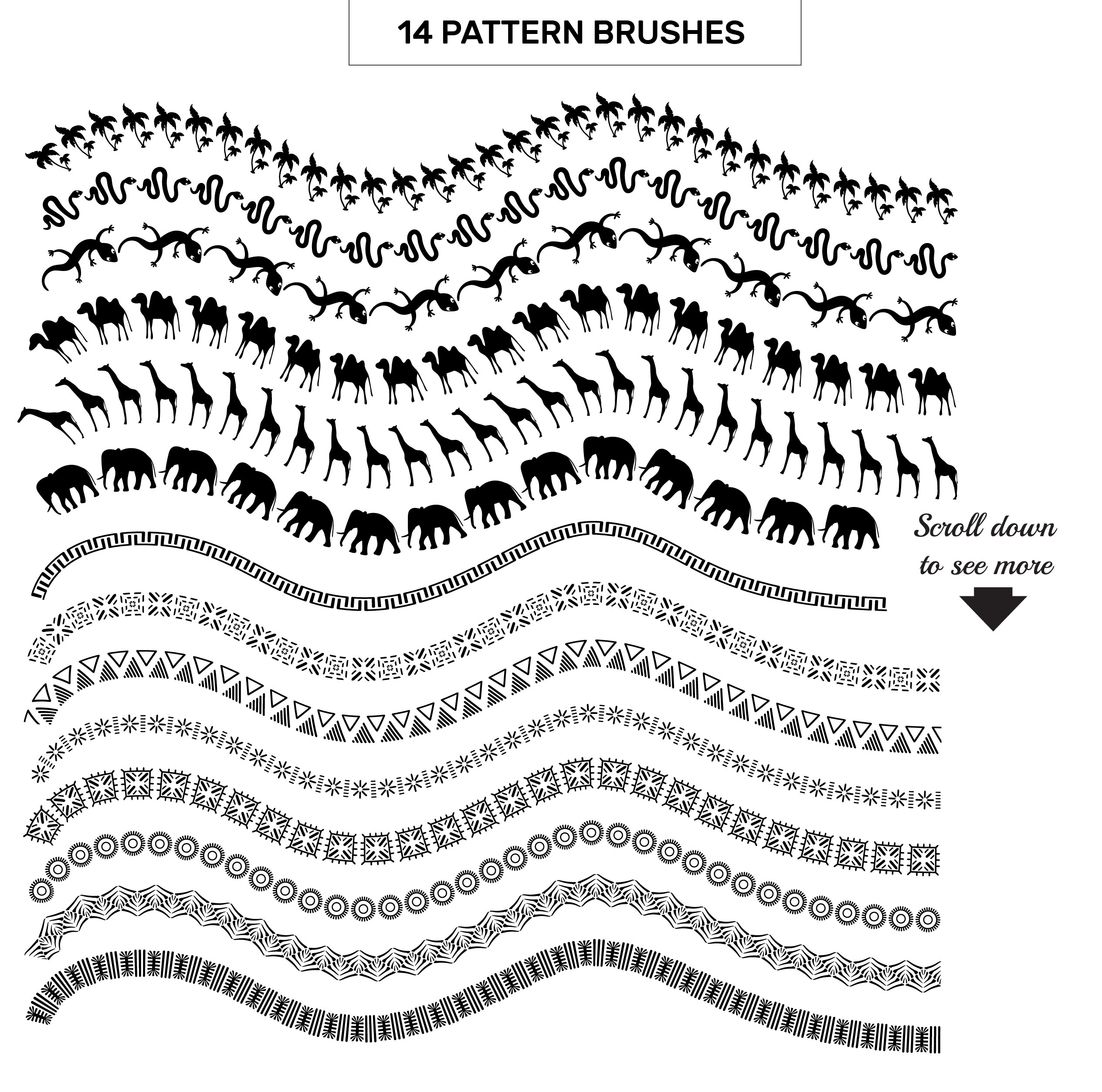 Africa Pattern Brushes for Illustrator example image 3