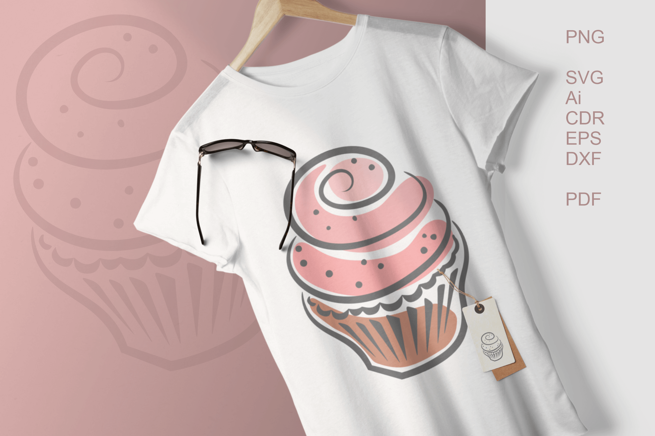 Cupcakes Clipart SVG PDF AI DXF for Crafts and Stationery example image 1