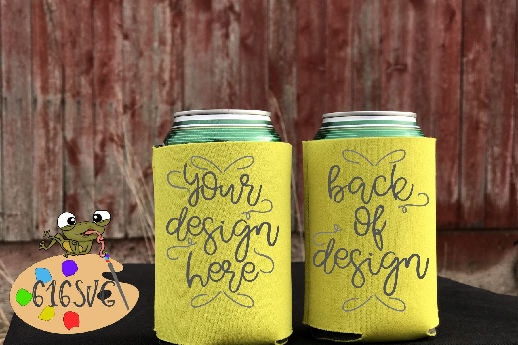 Yellow Can Cooler Mockup example image 2