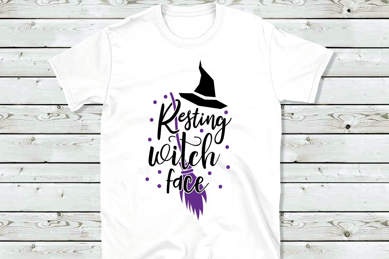 Resting witch face SVG, Halloween cut file example image 3